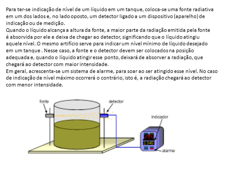 Para ter-se indicação de nível de um líquido em um tanque, coloca-se uma fonte radiativa em um dos lados e, no lado oposto, um detector ligado a um di