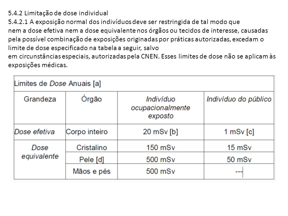 5.4.2 Limitação de dose individual 5.4.2.1 A exposição normal dos indivíduos deve ser restringida de tal modo que nem a dose efetiva nem a dose equiva