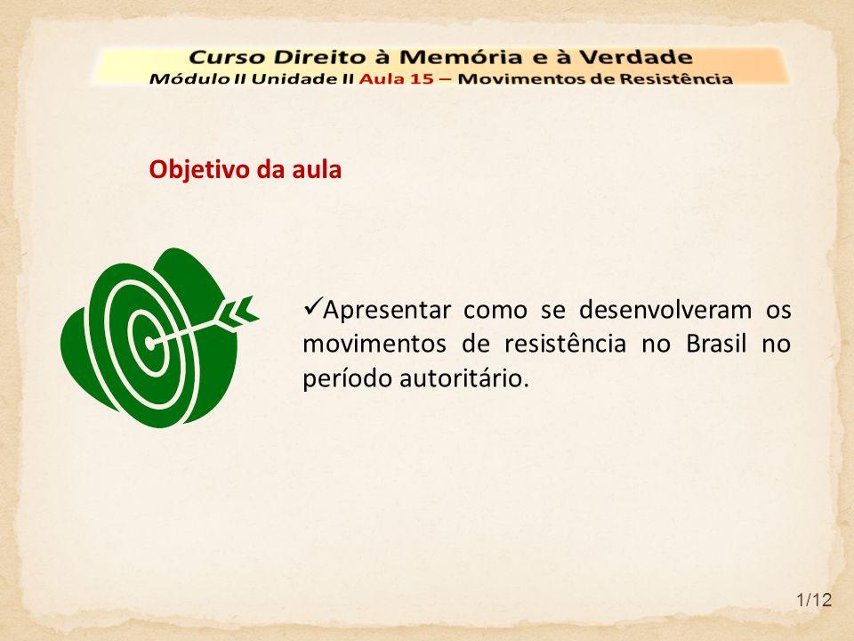 Apresentar como se desenvolveram os movimentos de resistência no Brasil no período autoritário.