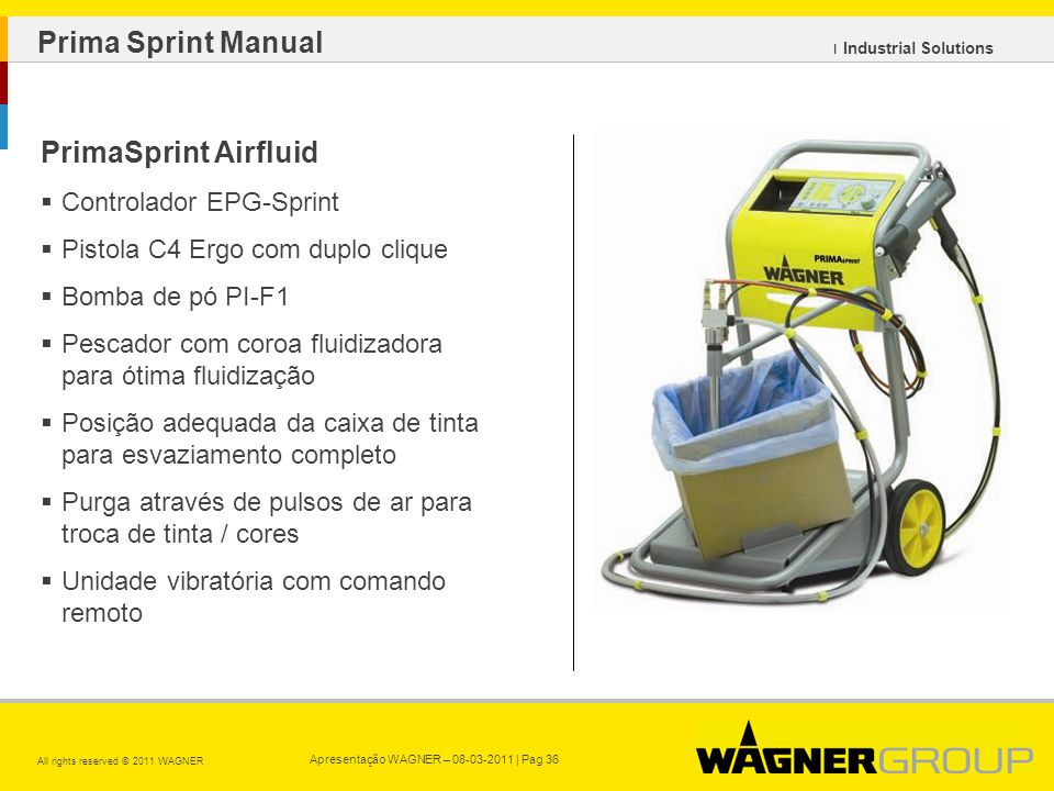Apresentação WAGNER – 08-03-2011 | Pag 36 All rights reserved © 2011 WAGNER ı Industrial Solutions PrimaSprint Airfluid Controlador EPG-Sprint Pistola