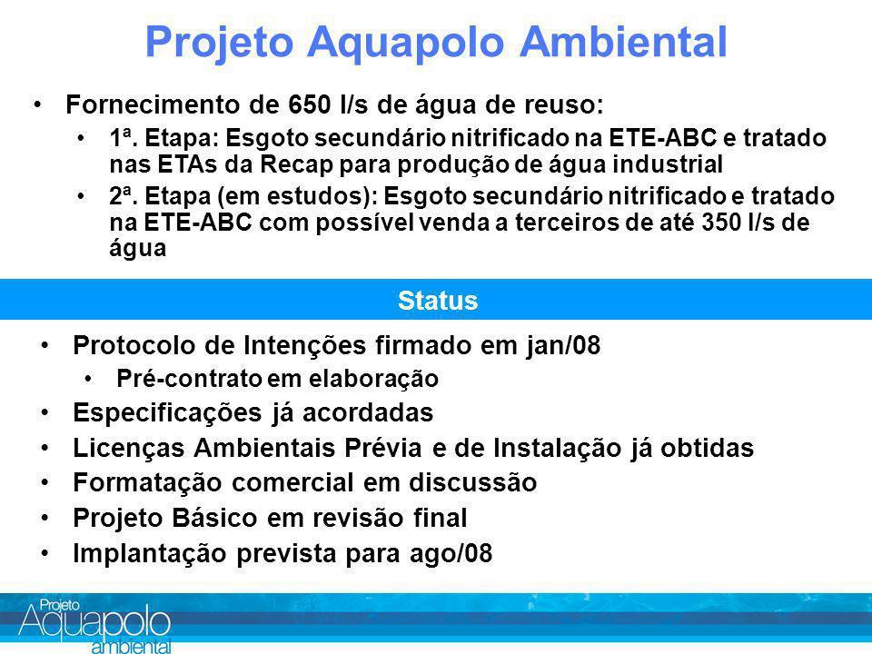 Projeto Aquapolo Ambiental Fornecimento de 650 l/s de água de reuso: 1ª.