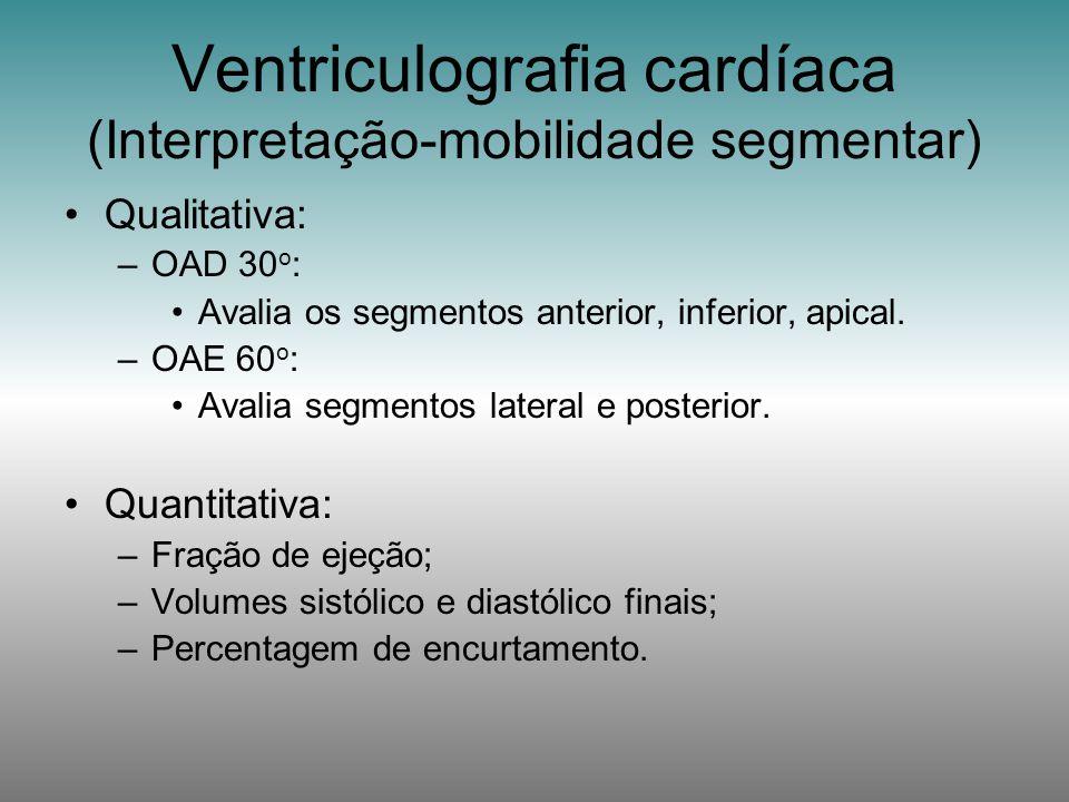Qualitativa: –OAD 30 o : Avalia os segmentos anterior, inferior, apical. –OAE 60 o : Avalia segmentos lateral e posterior. Quantitativa: –Fração de ej