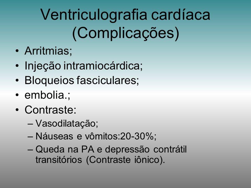 Arritmias; Injeção intramiocárdica; Bloqueios fasciculares; embolia.; Contraste: –Vasodilatação; –Náuseas e vômitos:20-30%; –Queda na PA e depressão c