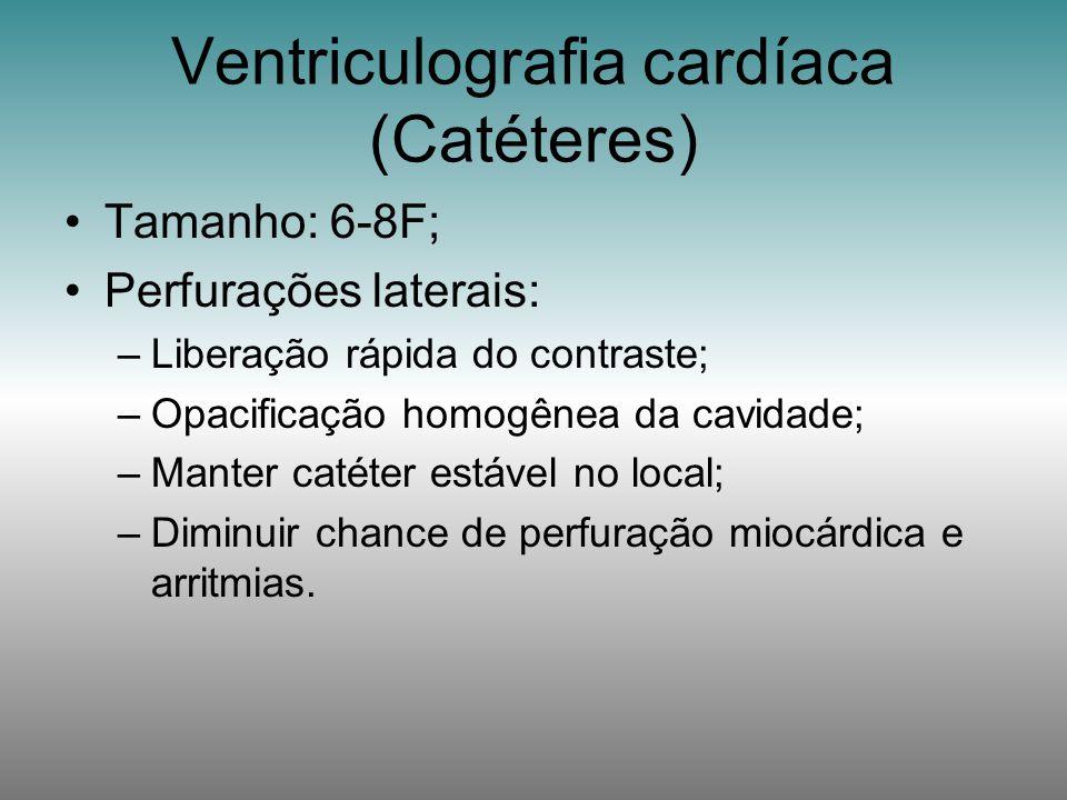 Tamanho: 6-8F; Perfurações laterais: –Liberação rápida do contraste; –Opacificação homogênea da cavidade; –Manter catéter estável no local; –Diminuir