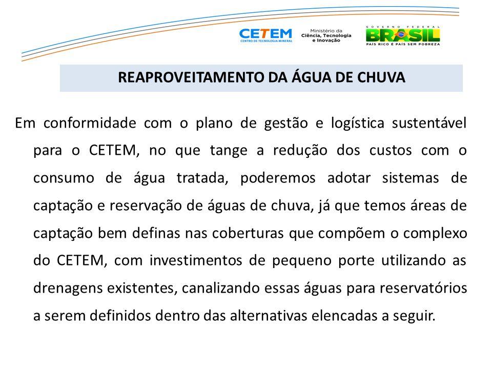 REAPROVEITAMENTO DA ÁGUA DE CHUVA Em conformidade com o plano de gestão e logística sustentável para o CETEM, no que tange a redução dos custos com o
