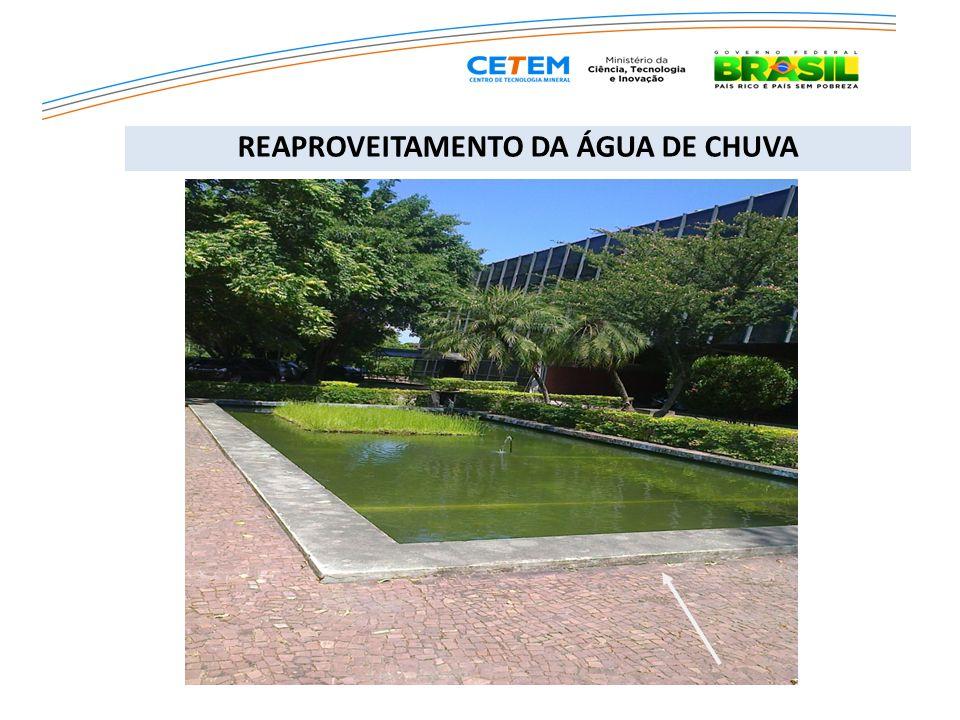Sugestão 2 – Divisão da cisterna atual do CETEM em duas câmaras com capacidade de 250.000 litros cada, sendo uma para água tratada e outra para armazenamento de águas de chuva, com captação em outras descidas da cobertura do edifício.
