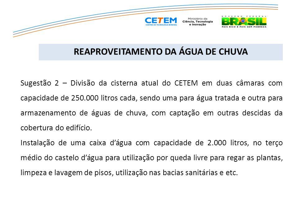 Sugestão 2 – Divisão da cisterna atual do CETEM em duas câmaras com capacidade de 250.000 litros cada, sendo uma para água tratada e outra para armaze