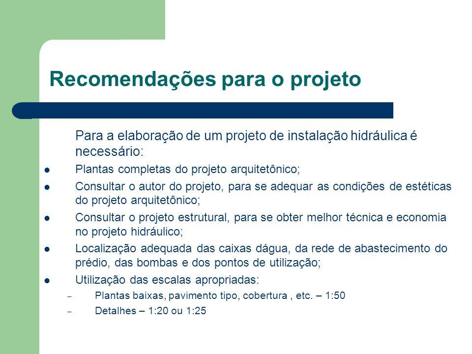 Recomendações para o projeto Para a elaboração de um projeto de instalação hidráulica é necessário: Plantas completas do projeto arquitetônico; Consul