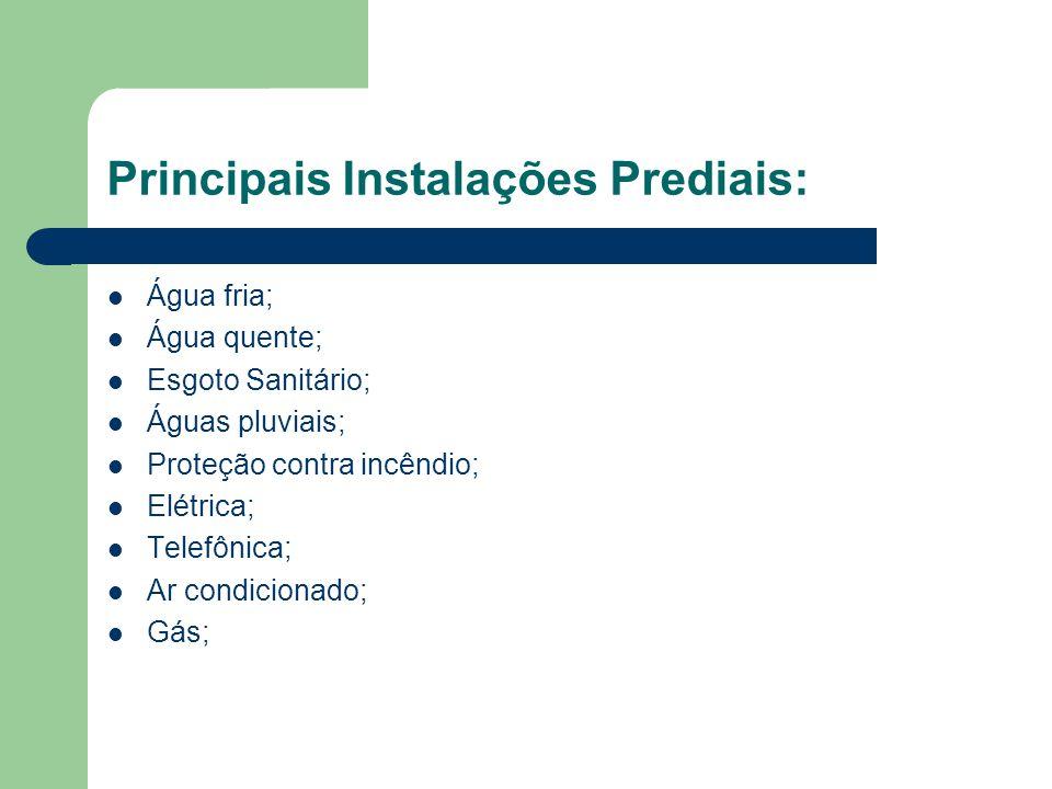 Principais Instalações Prediais: Água fria; Água quente; Esgoto Sanitário; Águas pluviais; Proteção contra incêndio; Elétrica; Telefônica; Ar condicio