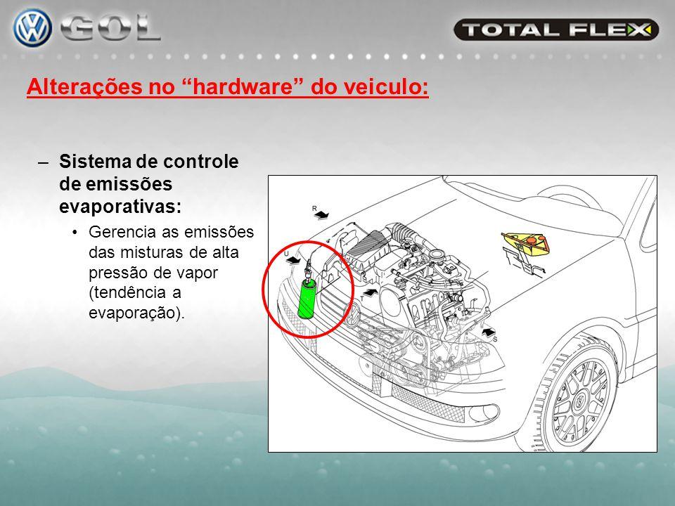 Alterações no hardware do veiculo: –Sistema de partida a frio: Garantia de partida a baixas temperaturas com misturas de alto % de álcool.