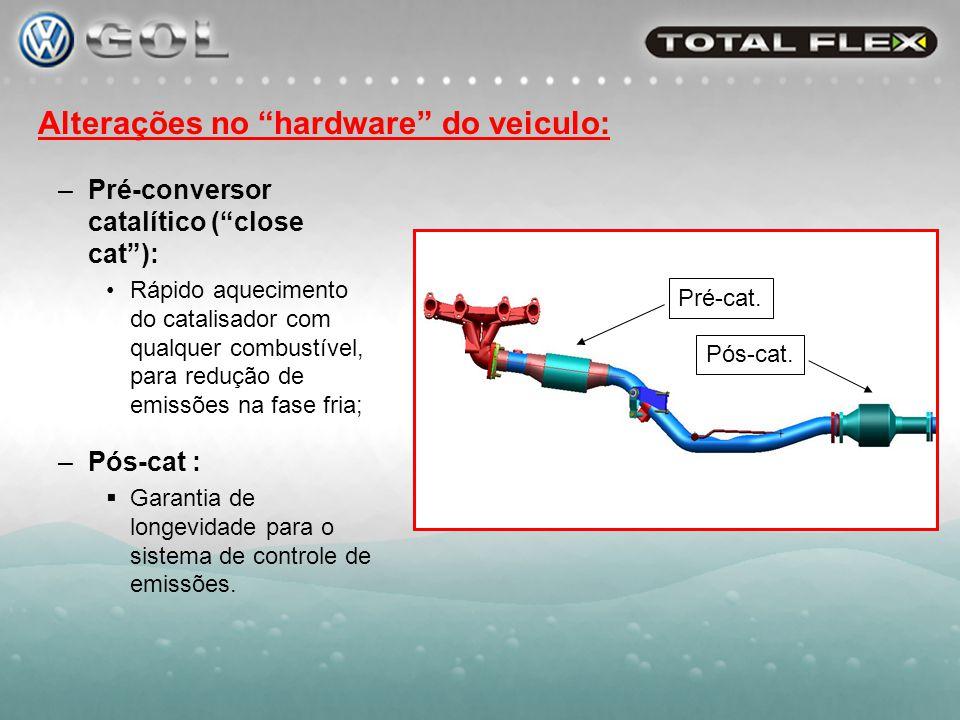 Alterações no hardware do veiculo: –Sistema de controle de emissões evaporativas: Gerencia as emissões das misturas de alta pressão de vapor (tendência a evaporação).