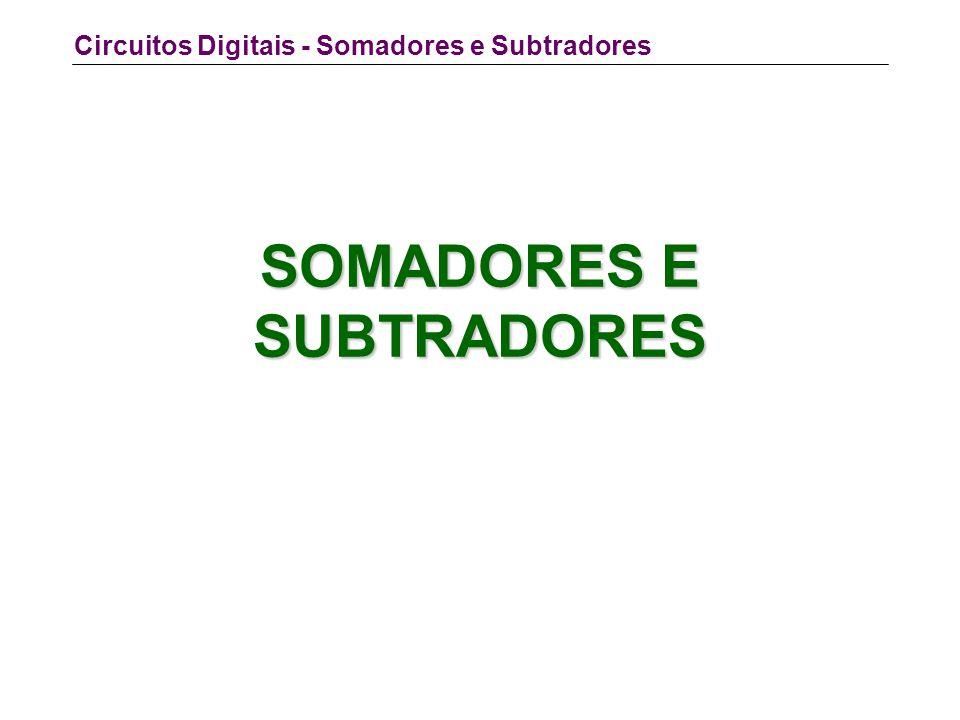 Circuitos Digitais - Somadores e Subtradores SOMADORES E SUBTRADORES