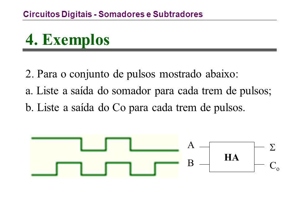 Circuitos Digitais - Somadores e Subtradores 4. Exemplos 2.
