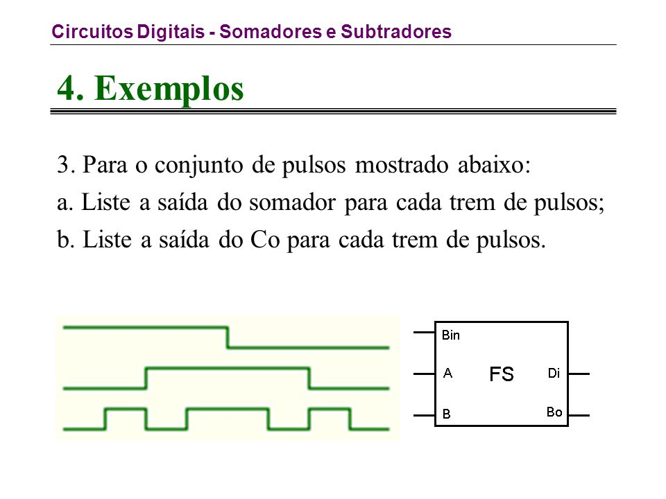Circuitos Digitais - Somadores e Subtradores 4. Exemplos 3.