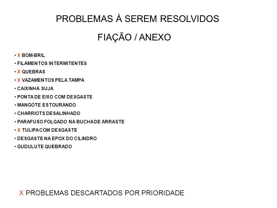 FIAÇÃO / ANEXO PROBLEMAS À SEREM RESOLVIDOS X BOM-BRIL FILAMENTOS INTERMITENTES X QUEBRAS X VAZAMENTOS PELA TAMPA CAIXINHA SUJA PONTA DE EIXO COM DESGASTE MANGOTE ESTOURANDO CHARRIOTS DESALINHADO PARAFUSO FOLGADO NA BUCHA DE ARRASTE X TULIPA COM DESGASTE DESGASTE NA EPOX DO CILINDRO GUDULUTE QUEBRADO X PROBLEMAS DESCARTADOS POR PRIORIDADE