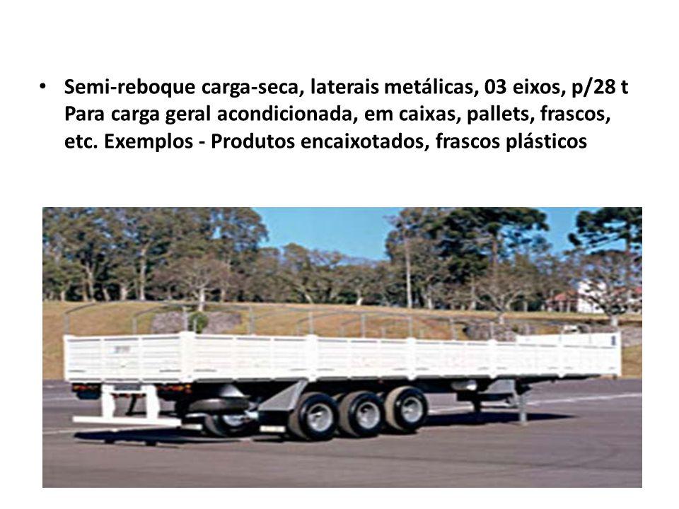 Semi-reboque carga-seca, laterais metálicas, 03 eixos, p/28 t Para carga geral acondicionada, em caixas, pallets, frascos, etc. Exemplos - Produtos en