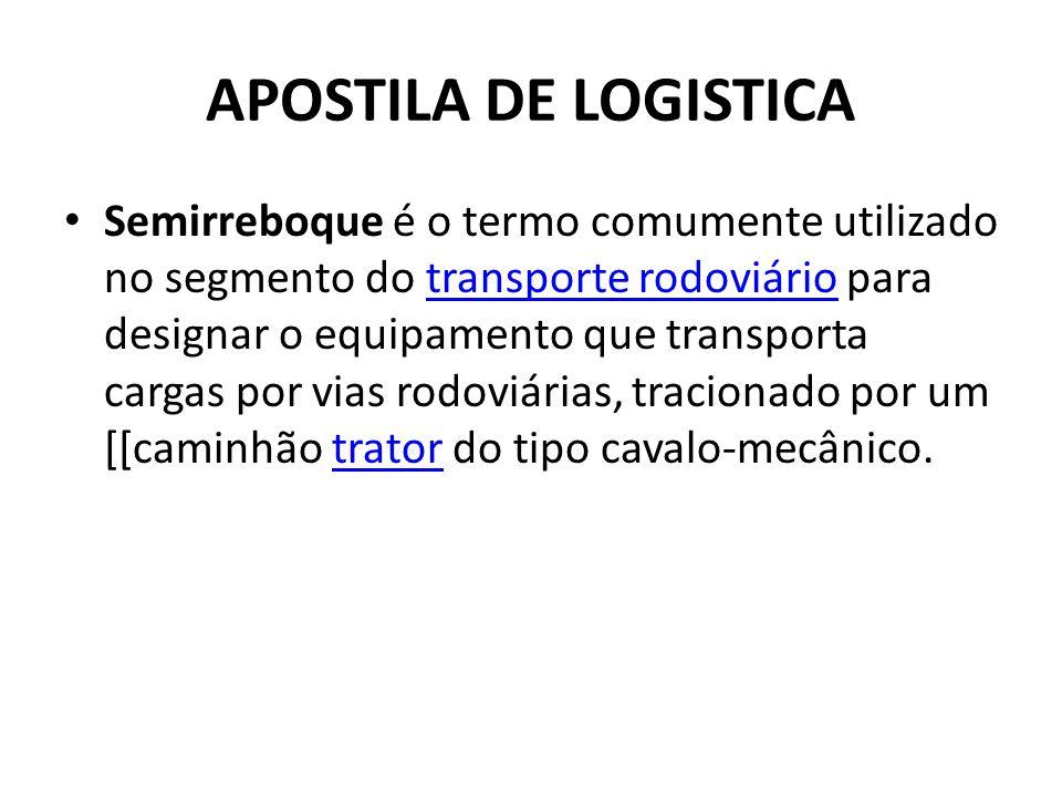 APOSTILA DE LOGISTICA Semirreboque é o termo comumente utilizado no segmento do transporte rodoviário para designar o equipamento que transporta carga