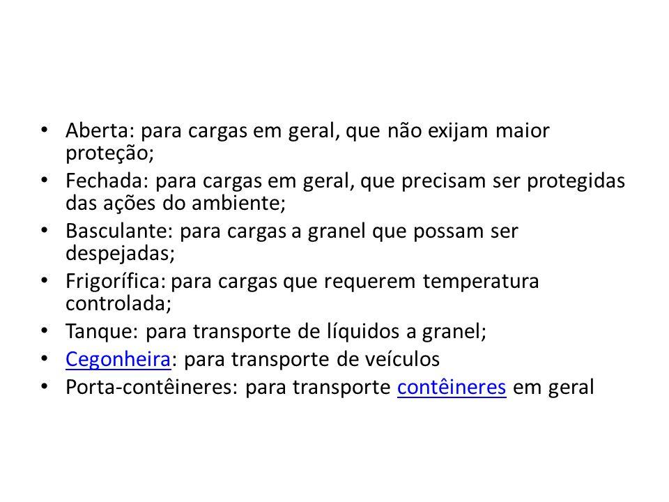 Aberta: para cargas em geral, que não exijam maior proteção; Fechada: para cargas em geral, que precisam ser protegidas das ações do ambiente; Bascula