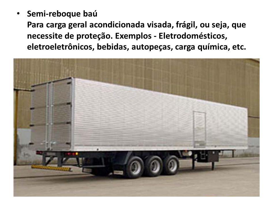 Semi-reboque baú Para carga geral acondicionada visada, frágil, ou seja, que necessite de proteção. Exemplos - Eletrodomésticos, eletroeletrônicos, be