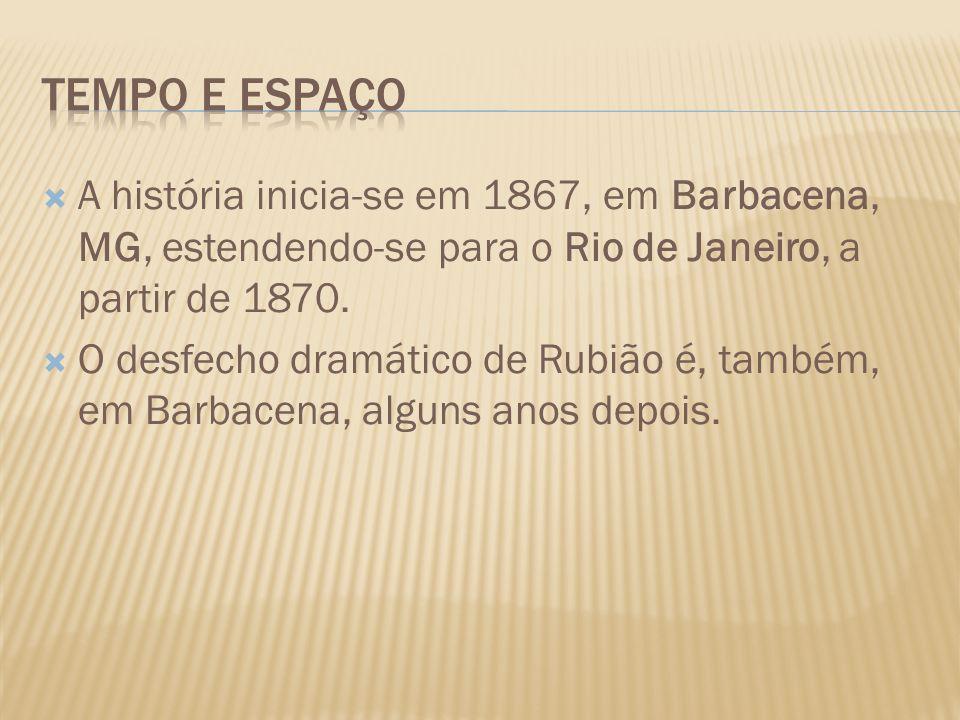 A história inicia-se em 1867, em Barbacena, MG, estendendo-se para o Rio de Janeiro, a partir de 1870. O desfecho dramático de Rubião é, também, em Ba