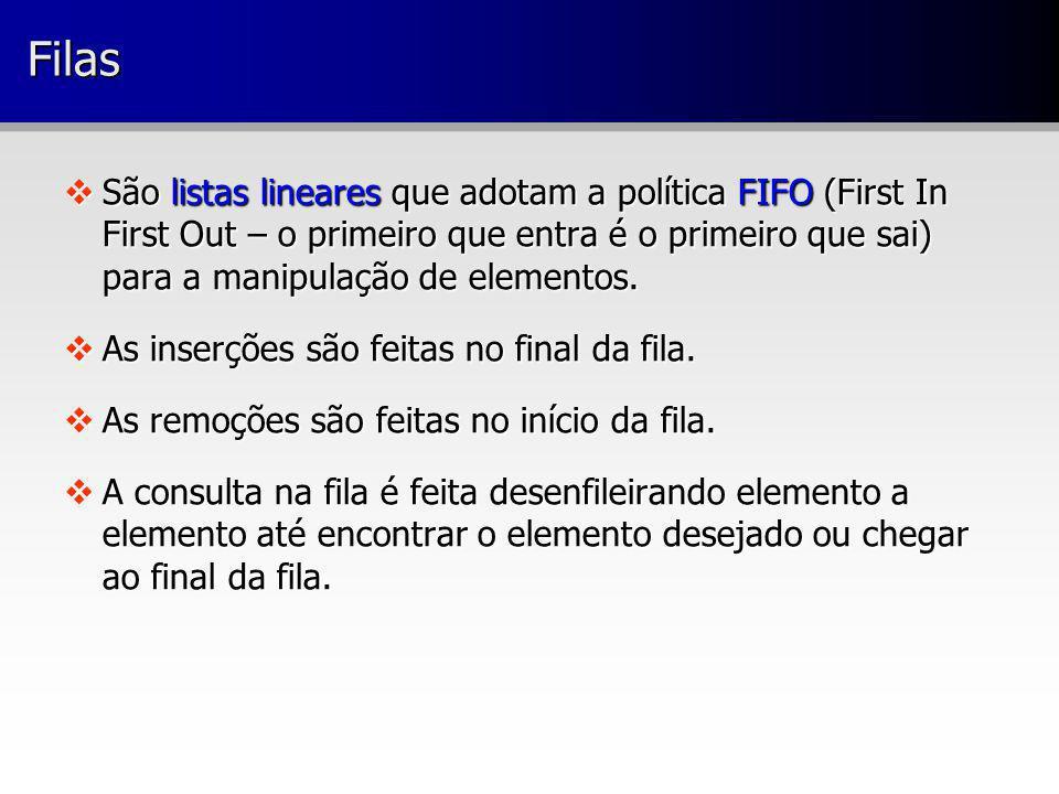 FilasFilas São listas lineares que adotam a política FIFO (First In First Out – o primeiro que entra é o primeiro que sai) para a manipulação de eleme