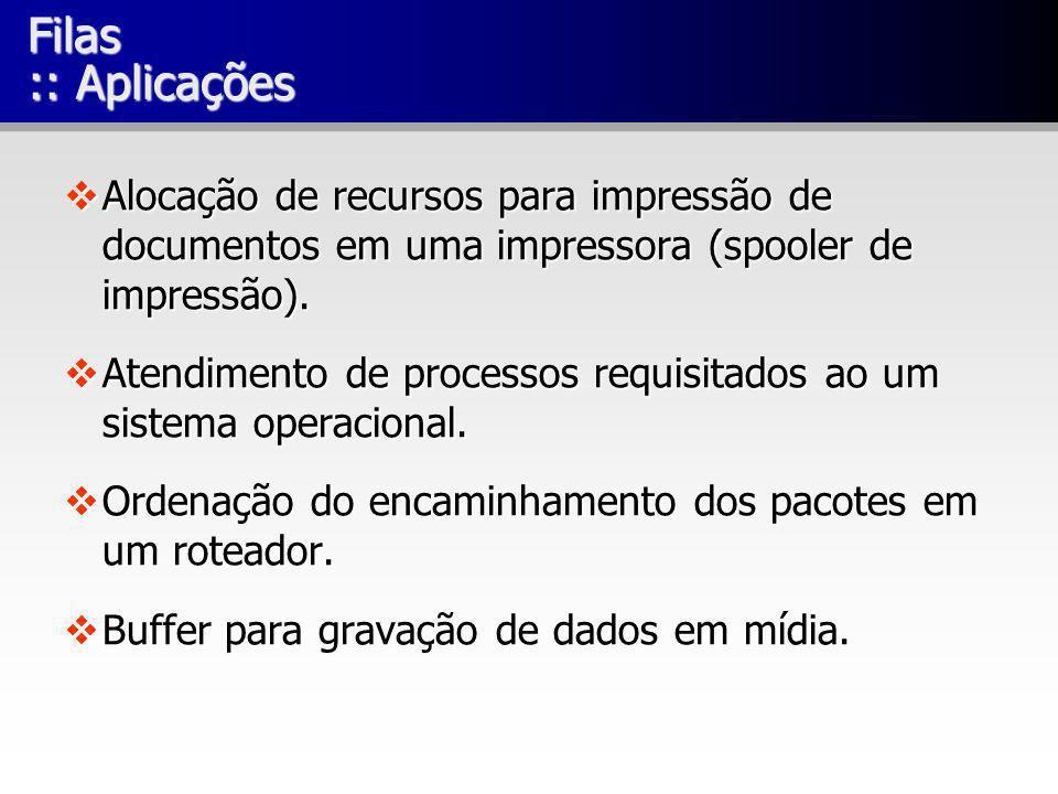 Filas :: Aplicações Alocação de recursos para impressão de documentos em uma impressora (spooler de impressão). Alocação de recursos para impressão de