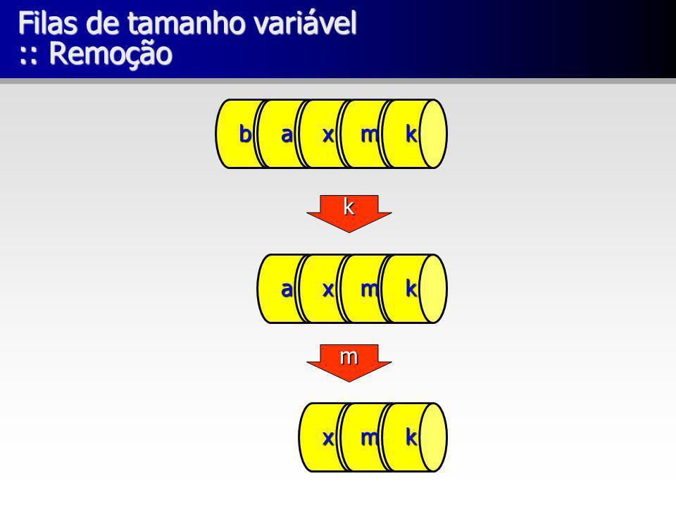 Filas de tamanho variável :: Remoção baxmk xmk axmk k m