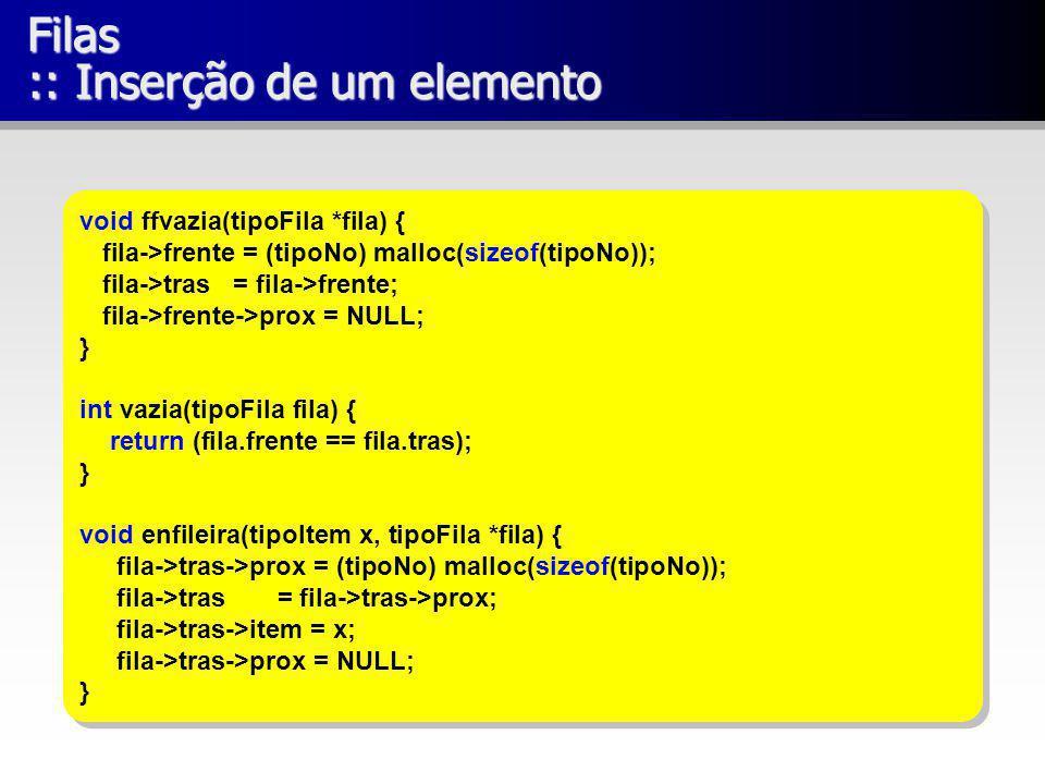 Filas :: Inserção de um elemento void ffvazia(tipoFila *fila) { fila->frente = (tipoNo) malloc(sizeof(tipoNo)); fila->tras = fila->frente; fila->frent