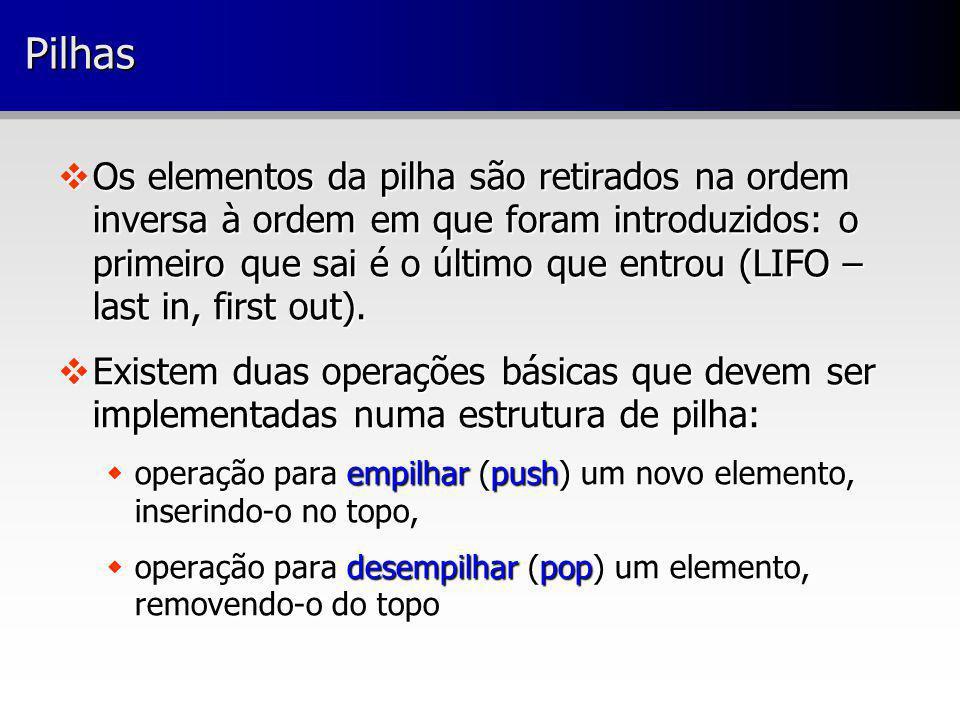 PilhasPilhas Os elementos da pilha são retirados na ordem inversa à ordem em que foram introduzidos: o primeiro que sai é o último que entrou (LIFO –