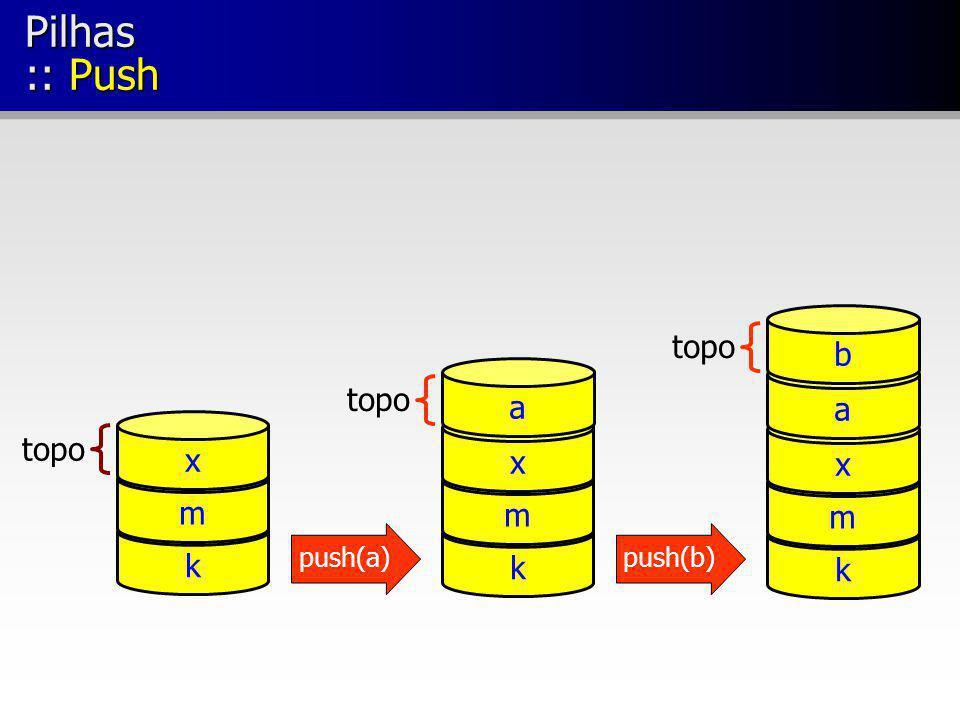Pilhas :: Push topo k m x k m x a k m x a b push(a)push(b)