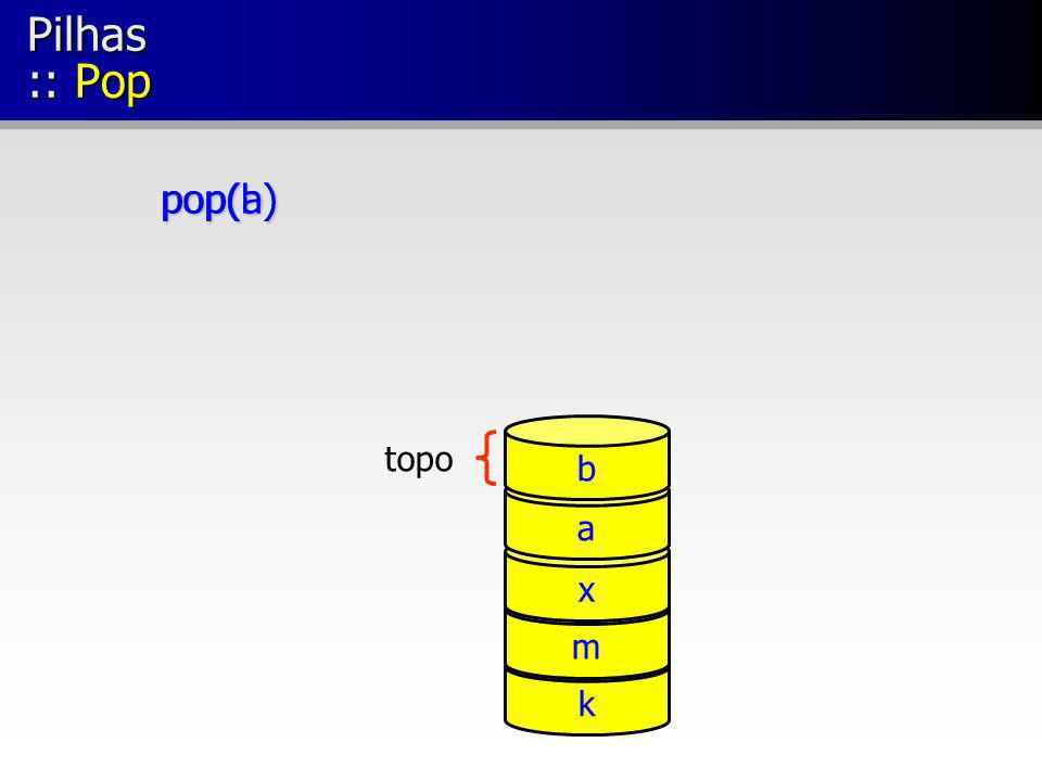 Pilhas :: Pop topo pop(b) k m x a pop(a) b