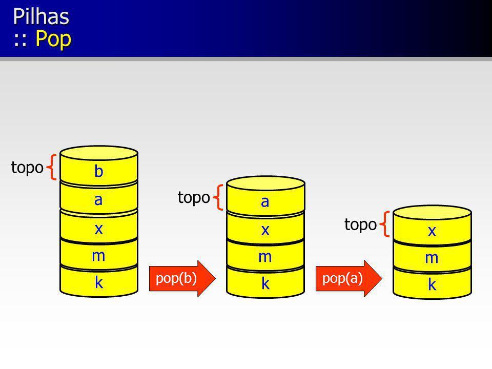 Pilhas :: Pop k m x topo k m x k m x a a b pop(b)pop(a)