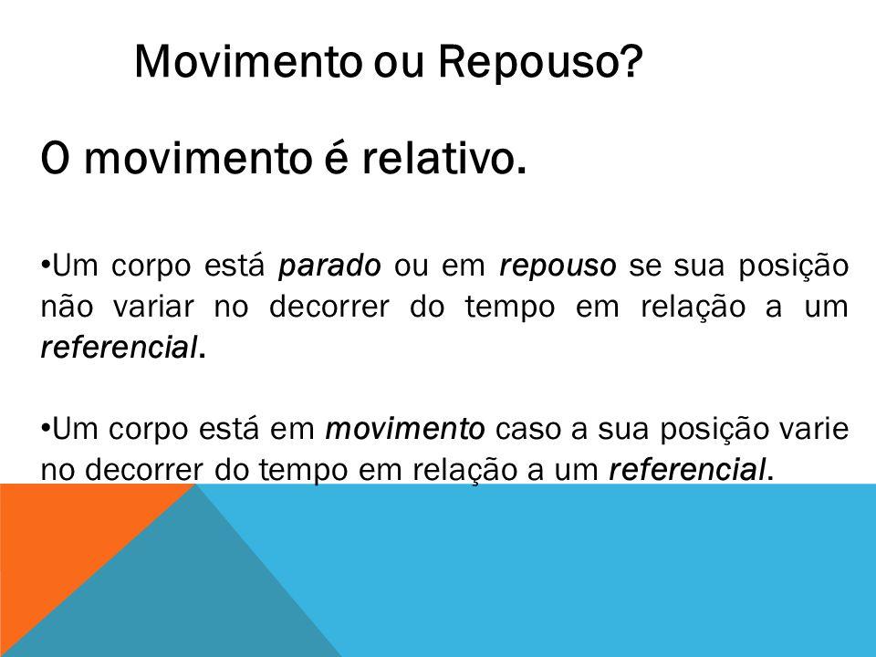 O movimento é relativo. Um corpo está parado ou em repouso se sua posição não variar no decorrer do tempo em relação a um referencial. Um corpo está e