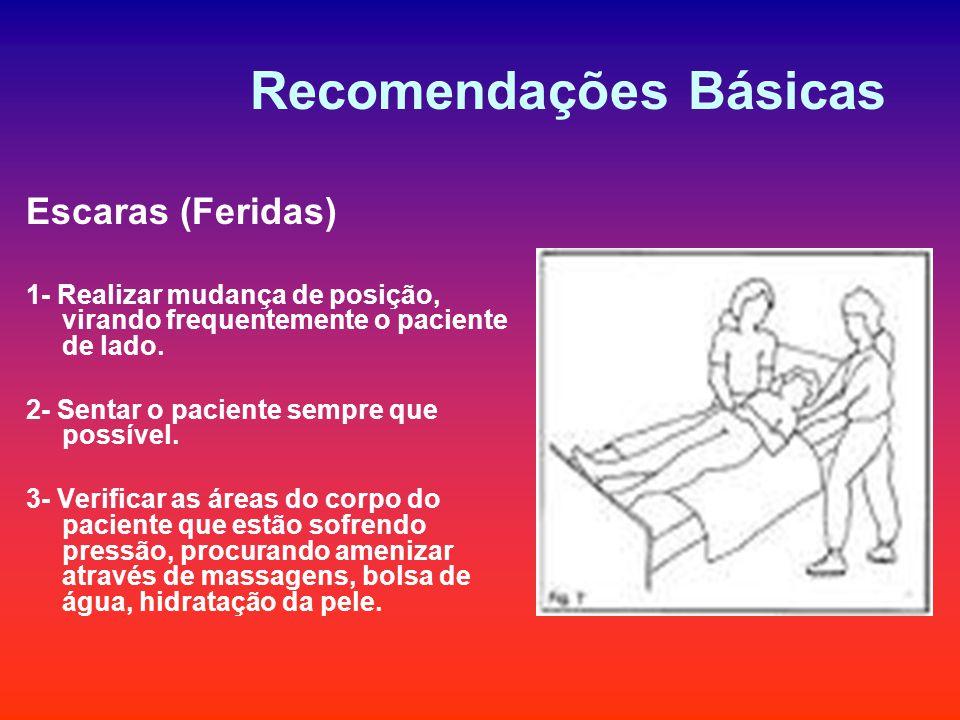 Recomendações Básicas Escaras (Feridas) 1- Realizar mudança de posição, virando frequentemente o paciente de lado. 2- Sentar o paciente sempre que pos