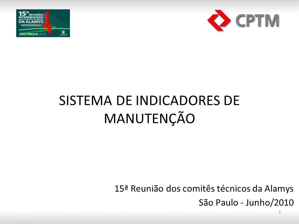 SISTEMA DE INDICADORES DE MANUTENÇÃO 15ª Reunião dos comitês técnicos da Alamys São Paulo - Junho/2010 1