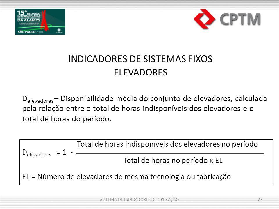 INDICADORES DE SISTEMAS FIXOS ELEVADORES D elevadores – Disponibilidade média do conjunto de elevadores, calculada pela relação entre o total de horas