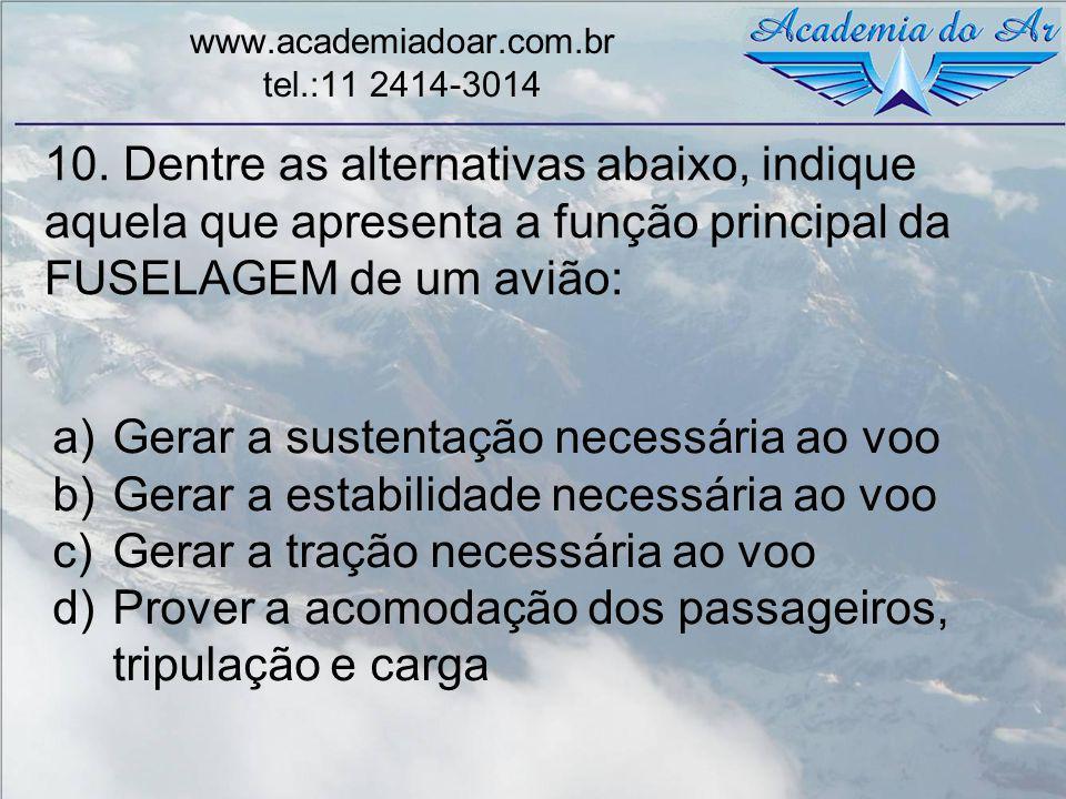 10. Dentre as alternativas abaixo, indique aquela que apresenta a função principal da FUSELAGEM de um avião: www.academiadoar.com.br tel.:11 2414-3014