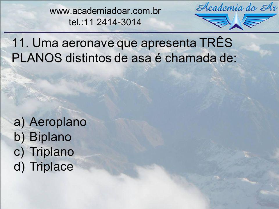 11. Uma aeronave que apresenta TRÊS PLANOS distintos de asa é chamada de: www.academiadoar.com.br tel.:11 2414-3014 a)Aeroplano b)Biplano c)Triplano d
