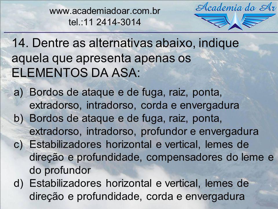 14. Dentre as alternativas abaixo, indique aquela que apresenta apenas os ELEMENTOS DA ASA: www.academiadoar.com.br tel.:11 2414-3014 a)Bordos de ataq