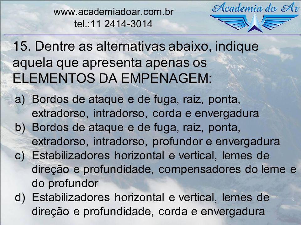 15. Dentre as alternativas abaixo, indique aquela que apresenta apenas os ELEMENTOS DA EMPENAGEM: www.academiadoar.com.br tel.:11 2414-3014 a)Bordos d