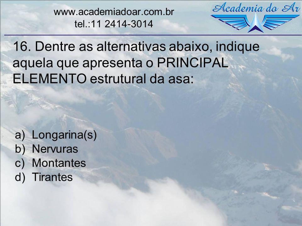 16. Dentre as alternativas abaixo, indique aquela que apresenta o PRINCIPAL ELEMENTO estrutural da asa: www.academiadoar.com.br tel.:11 2414-3014 a)Lo