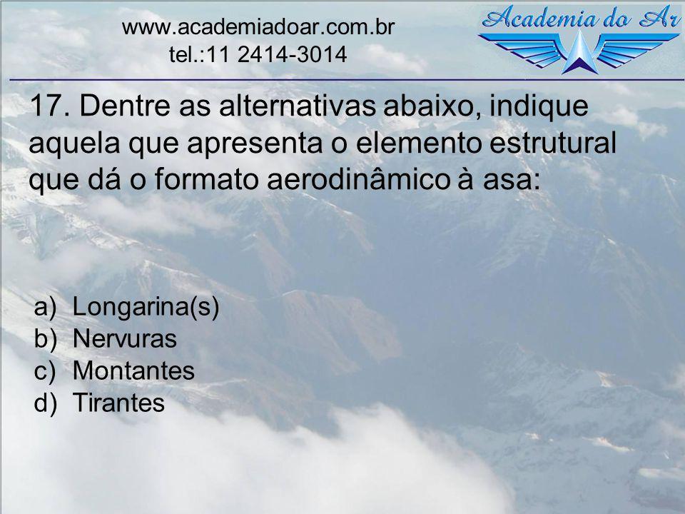 17. Dentre as alternativas abaixo, indique aquela que apresenta o elemento estrutural que dá o formato aerodinâmico à asa: www.academiadoar.com.br tel