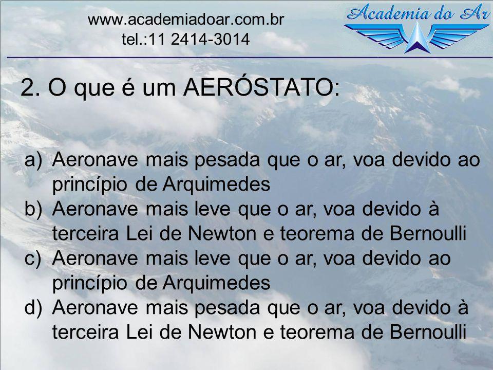 2. O que é um AERÓSTATO: www.academiadoar.com.br tel.:11 2414-3014 a)Aeronave mais pesada que o ar, voa devido ao princípio de Arquimedes b)Aeronave m