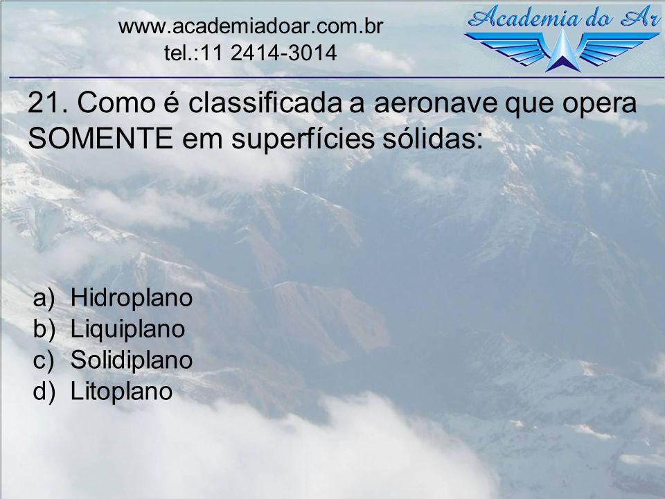 21. Como é classificada a aeronave que opera SOMENTE em superfícies sólidas: www.academiadoar.com.br tel.:11 2414-3014 a)Hidroplano b)Liquiplano c)Sol