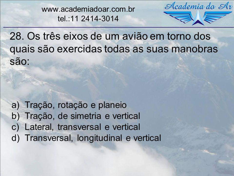 28. Os três eixos de um avião em torno dos quais são exercidas todas as suas manobras são: www.academiadoar.com.br tel.:11 2414-3014 a)Tração, rotação