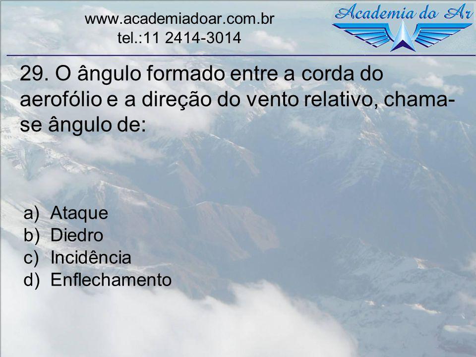 29. O ângulo formado entre a corda do aerofólio e a direção do vento relativo, chama- se ângulo de: www.academiadoar.com.br tel.:11 2414-3014 a)Ataque