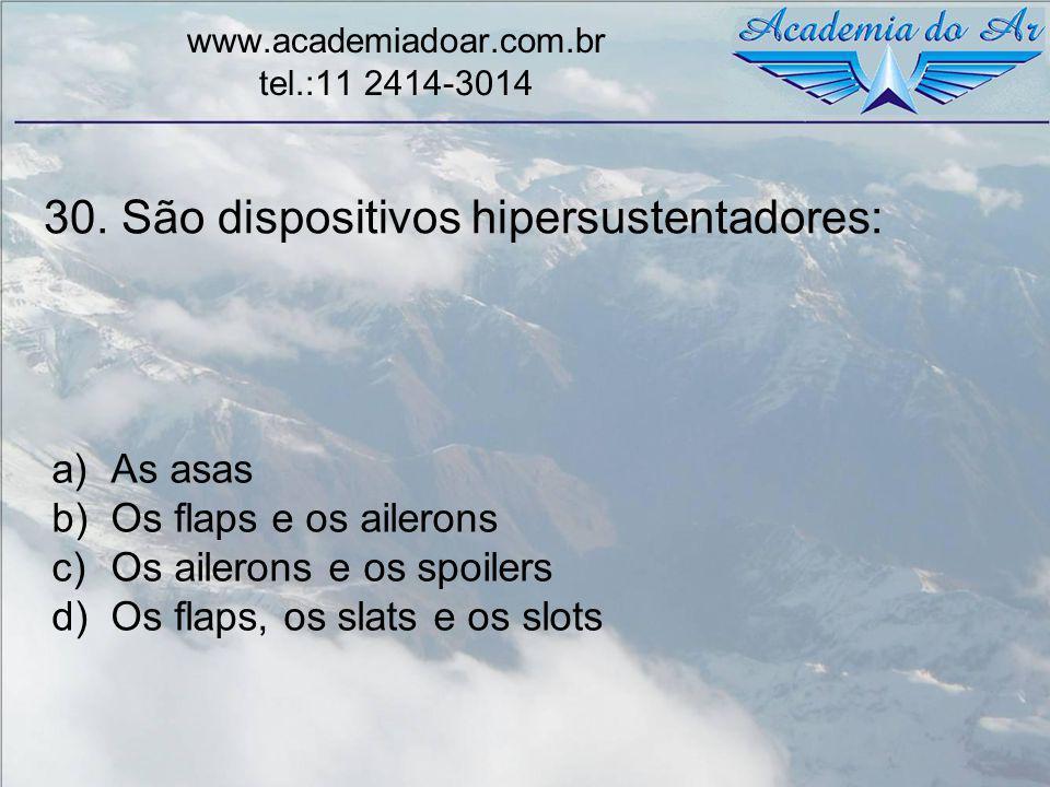 30. São dispositivos hipersustentadores: www.academiadoar.com.br tel.:11 2414-3014 a)As asas b)Os flaps e os ailerons c)Os ailerons e os spoilers d)Os