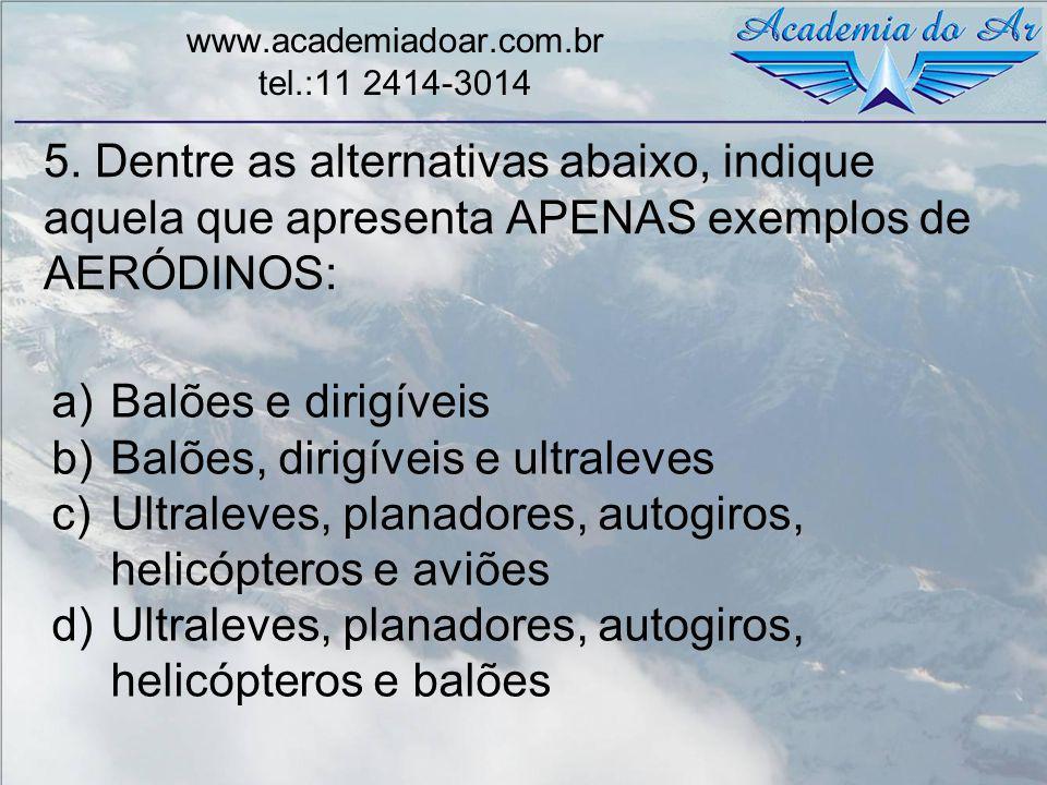 5. Dentre as alternativas abaixo, indique aquela que apresenta APENAS exemplos de AERÓDINOS: www.academiadoar.com.br tel.:11 2414-3014 a)Balões e diri