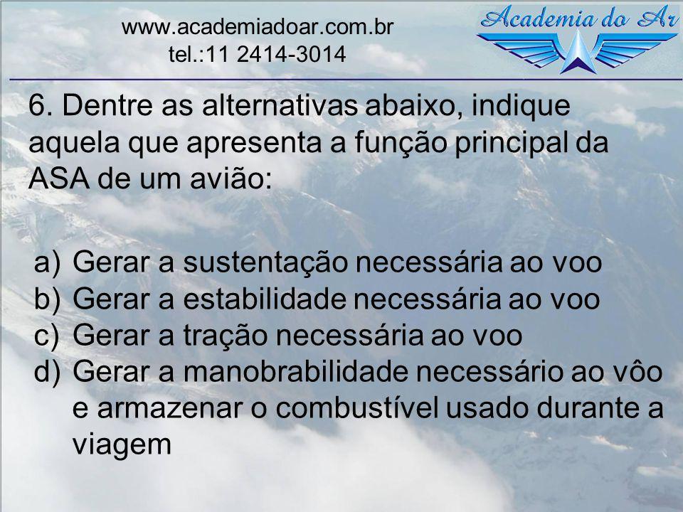 6. Dentre as alternativas abaixo, indique aquela que apresenta a função principal da ASA de um avião: www.academiadoar.com.br tel.:11 2414-3014 a)Gera