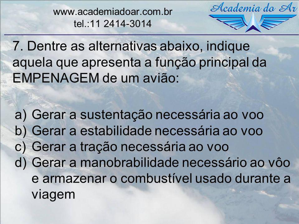 7. Dentre as alternativas abaixo, indique aquela que apresenta a função principal da EMPENAGEM de um avião: www.academiadoar.com.br tel.:11 2414-3014